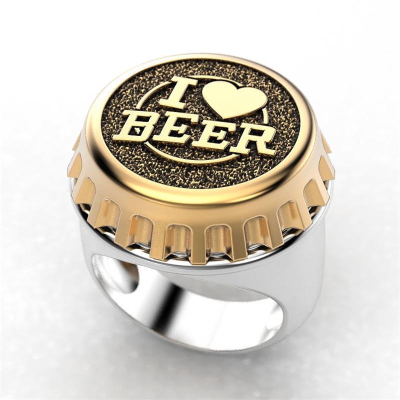Кольцо мужское в стиле панк с надписью «I LOVE BEER»