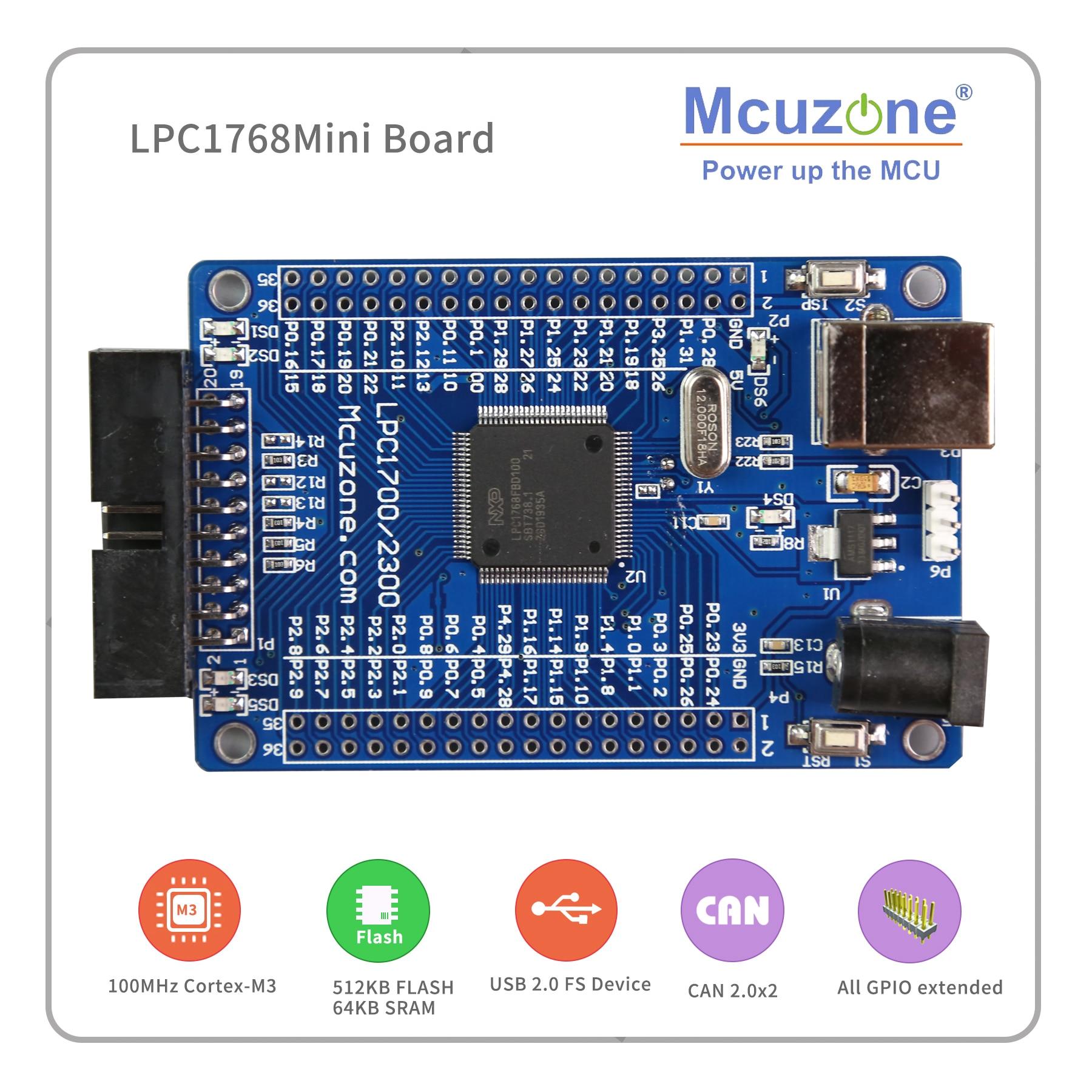 FREE SHIPPING!LPC1768 Mini Board  100MHz Cortex-M3, USB, EMAC, UART, SPI, I2C, ADC, DAC, SD NXP GPIO CAN