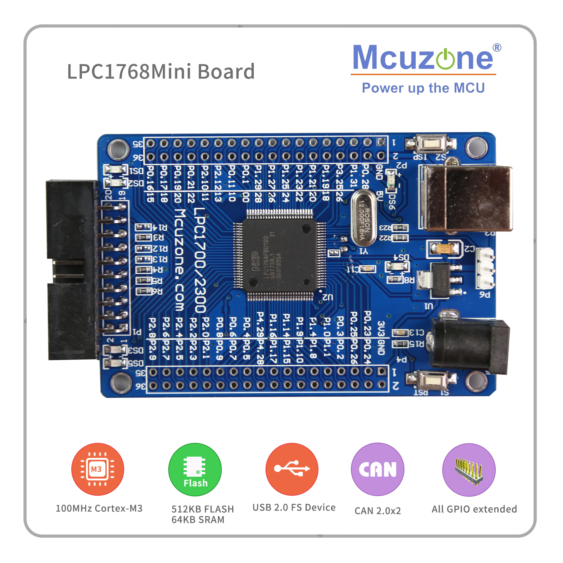 LPC1768 Mini Board  100MHz Cortex-M3, USB, EMAC, UART, SPI, I2C, ADC, DAC, SD NXP GPIO CAN