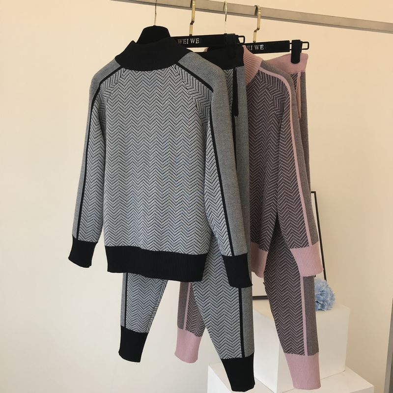 Fall Winter New Tracksuit Woman Color Patchwork Turtleneck Zipper Knitted Cardigans+Pants 2PCS Sets Long Sleeve Knit Top Trouser 52