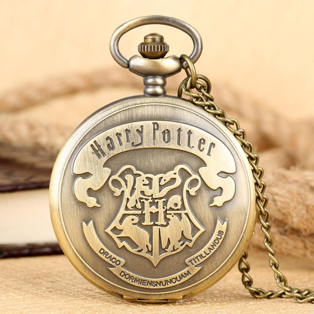 Pocket Watch HP Hogwarts Pattern Cover Pocket Watch For Men Round Dial With Roman Numerals Pocket Watches Women Pendant Watch