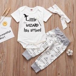 2019 novo bebê infantil conjunto de roupas pequeno feiticeiro chegou outfit macacão + calças chapéu 3 pçs roupas de bebê