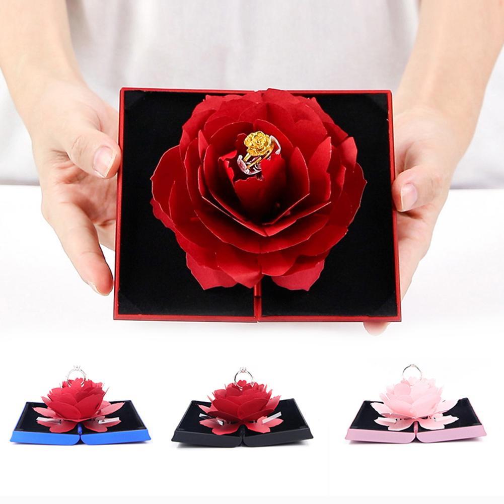 Folding Fake Rose Wedding Ring Box Holder Jewelry Display Gift Storage Case