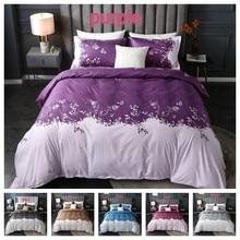 2 o 3 uds juego de cama de flores de impresión suave funda nórdica conjuntos con cierre de cremallera 1 funda de edredón + 1/2 fundas de almohada US/EU/AU tamaño