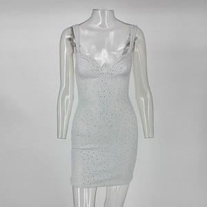 Image 5 - COSYGAL 2019 Winter Autumn Low Cut Sexy Dress Diamonds Night Clubwear Party Dresses Women Bodycon Mini Dress Vestidos