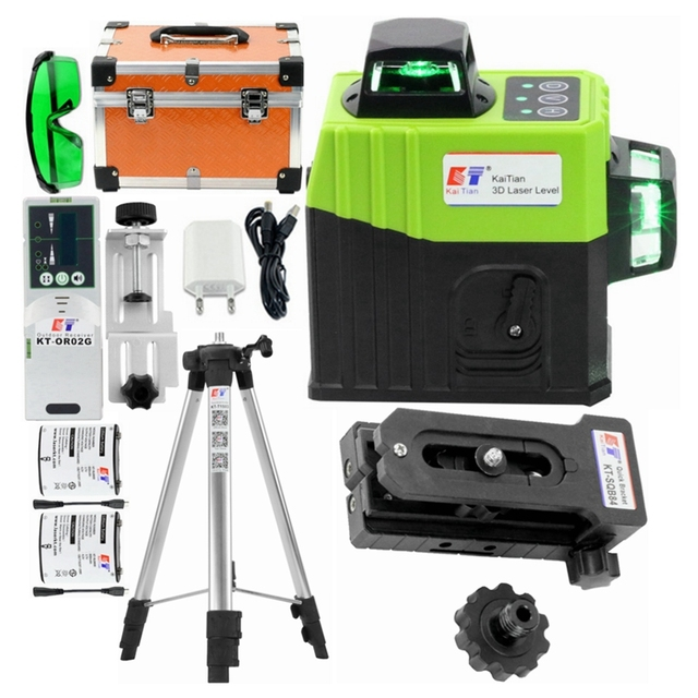Kaitian Lazer Level Receiver Green 3D Self Leveling Cross 12Lines Vertical Horizontal 360 Rotary Lasers Line Level Battery Tools