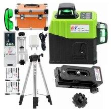Kaitian laserowa poziomica, odbiornik, zielony laser, 3D, samopoziomowanie, krzyżowe, 12 linii pionowych, poziomych, 360°, obrotowy, bateria, narzędzia