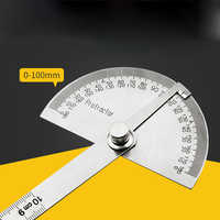 Protractor 180 degree adjustable multifunctional stainless steel round head angle ruler mathematical measurement tool
