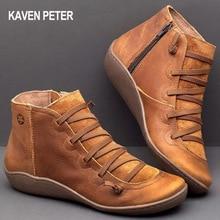 Zapatos de talla grande para mujer, botas martin, zapatos planos casuales de cuero pu, botines de otoño e invierno