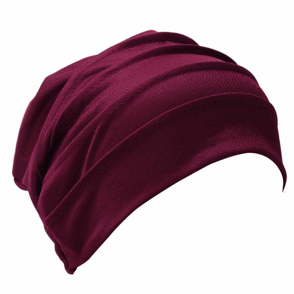 Warna Solid Tengkorak Wanita India Topi Musim Dingin Muslim Ruffle Kanker Kemo Hat Beanie Syal Serban Kepala Membungkus Cap Chapeau Femme