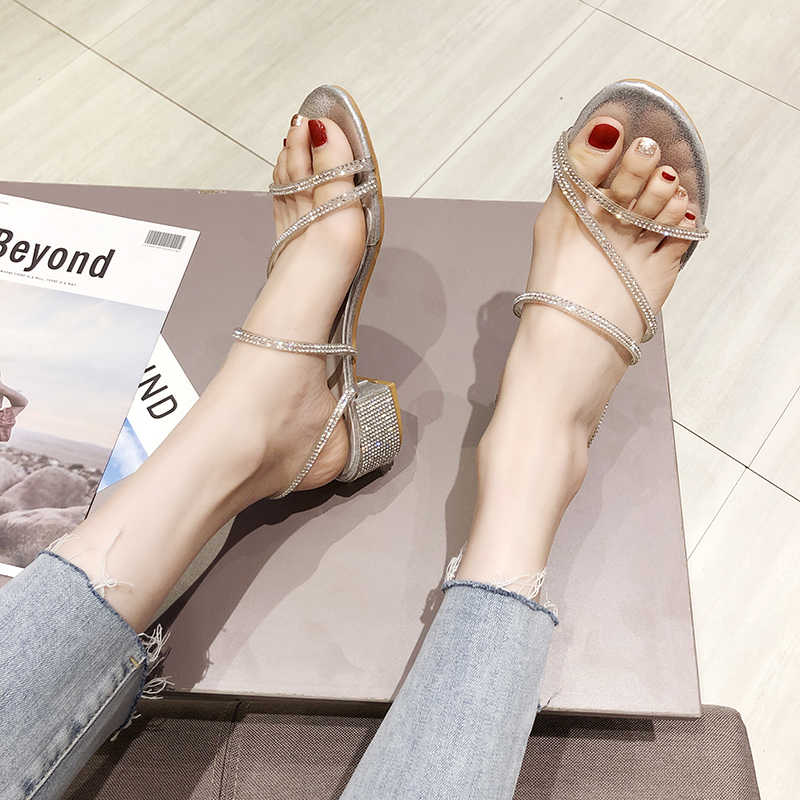 Koovan 2 Cách Mặc Nữ Dép Nữ 2019 Tối Mới Giày Cổ Tích Đá Dày Gót Giày nữ dép đi trong nhà