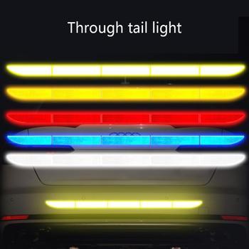 Samochodowe naklejki odblaskowe zewnętrzny pasek ostrzegawczy odblaskowa taśma bezśladowa ochronna naklejka samochodowa Trunk Body akcesoria samochodowe tanie i dobre opinie Paski odblaskowe White Red Yellow Blue 90x3 5cm Adhesive Sticker