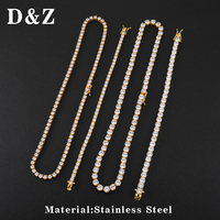 D&Z 1 Set 3/4/5mm Iced Out Bling Cubic Zircon Tennis Chain Necklaces For Men Hip Hop Jewelry Accessories