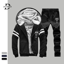 New Winter Tracksuits Men Sets Thicken Hoodies+Pants Suit Sweatshirt Mens Sportswear Set Warm Fleece Male Hooded Sporting Suits