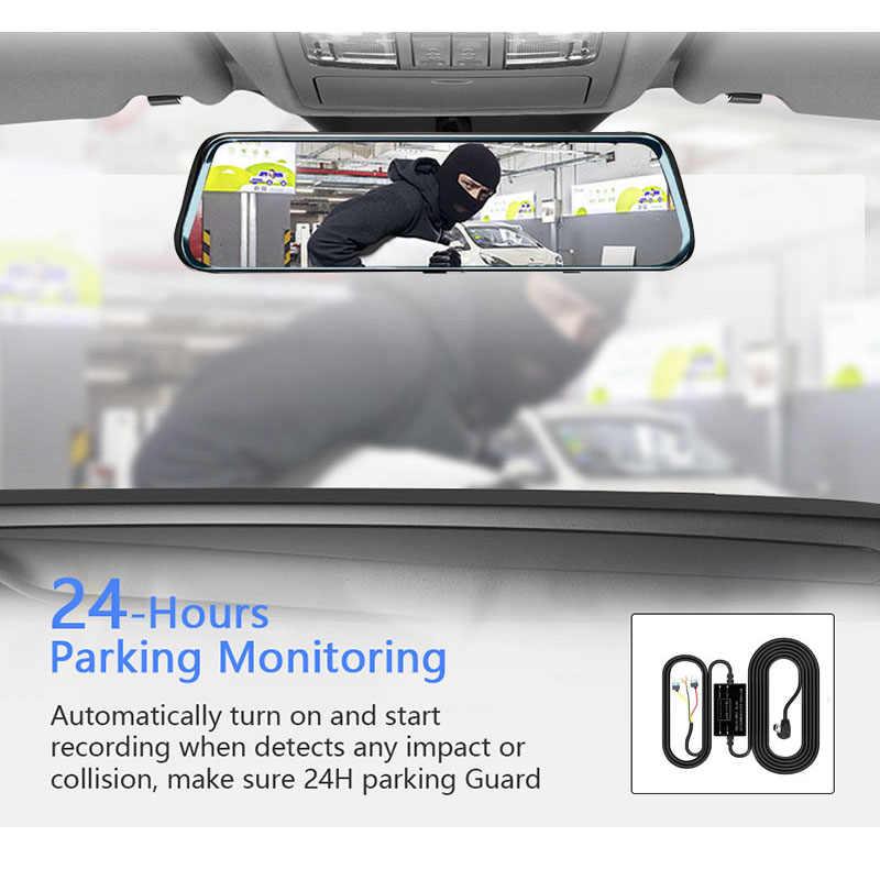 HGDO 10 بوصة تعمل باللمس جهاز تسجيل فيديو رقمي للسيارات مرآة الرؤية الخلفية داش كاميرا كامل HD سيارة كاميرا 1080P الخلفي عدسة كاميرا مزدوجة مسجل فيديو