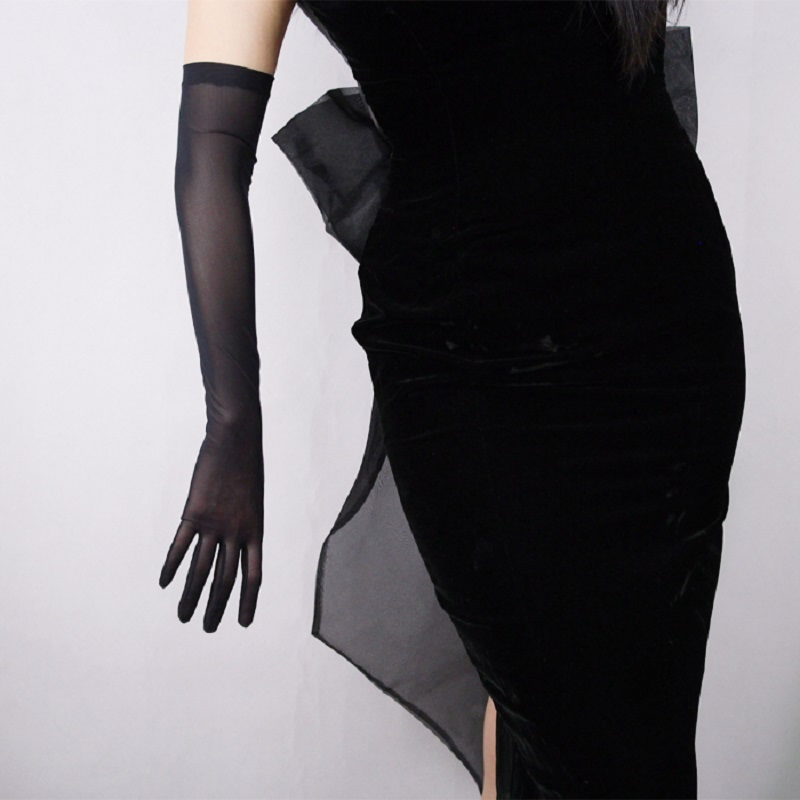 """Black White 20"""" Long Tulle Gloves Stretchy Lace Nylon Semi Sheer TECH Touchscreen Special Occasion Women Evening Gloves ST361"""