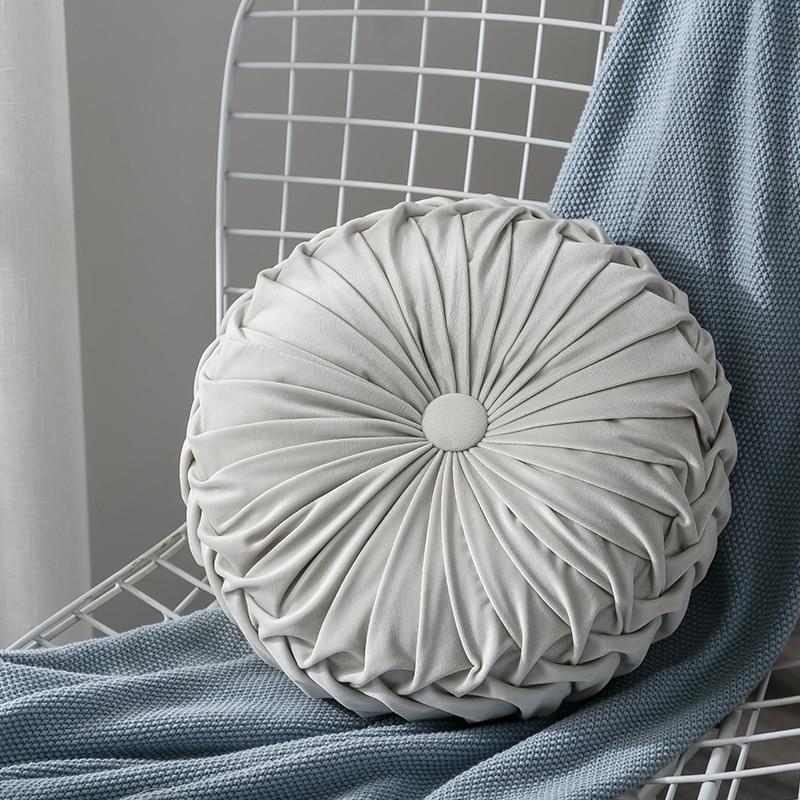 H804d179775514e9b9a57e56ef20c79c1j Velvet Pleated Round Floor Cushion Pillow Pouf Throw Home Sofa Decor