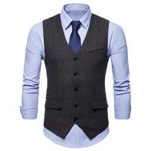 Men Waistcoat Sleeveless V Neck Single-breasted Herringbone Gilet Business Suit Jacket Waistcoat Suit Vest Groomsmen Business