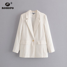 ROHOPO Single Buttons Black Thin Vertical Stripe White Blazer Office Ladies Cardigan Chic veste #27348