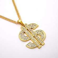 цена на 2020 Popular accessories in Europe and America hip hop hiphop exaggerated dollar Necklace Dollar Sign Pendant