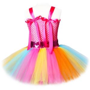 Image 3 - Jojo Siwa Tutu Dress with Hair Bow Rainbow Girls Princess Dress Tulle Kids Tutu Dresses for Girls Holiday Birthday Party Costume