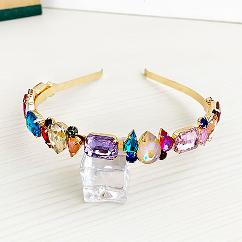 ZHINI New Colorful Crystal Hair Bands Aurstria Rhinestone Headband Bridal Crystal Broad Brimmed Hair Accessory Jewelry 2019 New