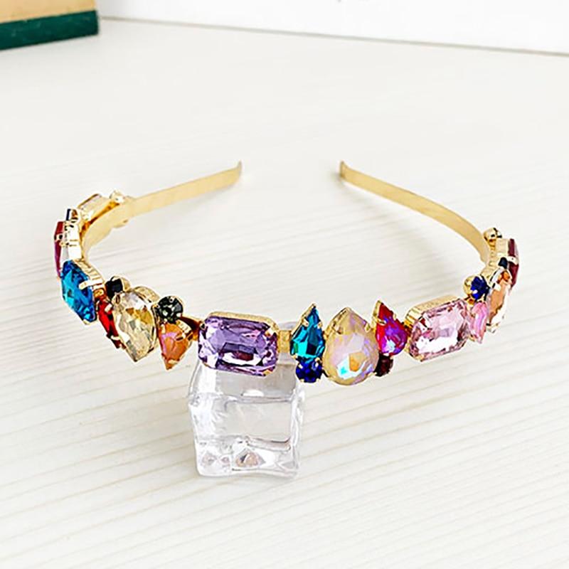 ZHINI New Colorful Crystal Hair Bands Aurstria Rhinestone Headband Bridal Crystal Broad Brimmed Hair Accessory Jewelry 2019 New