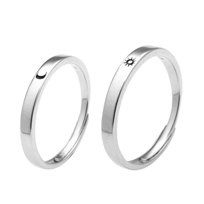 2Pcs Sonne Mond Liebhaber Paar Ringe Set Versprechen Hochzeit Bands für Sie und Ihn Valentinstag Schmuck Geschenk