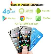 """Ulcool U2 Pocket 4G-LTE Android смартфон 3,1"""" MTK6739 четырехъядерный Android 8,1 Dual SIM роскошный кожаный мобильный телефон"""