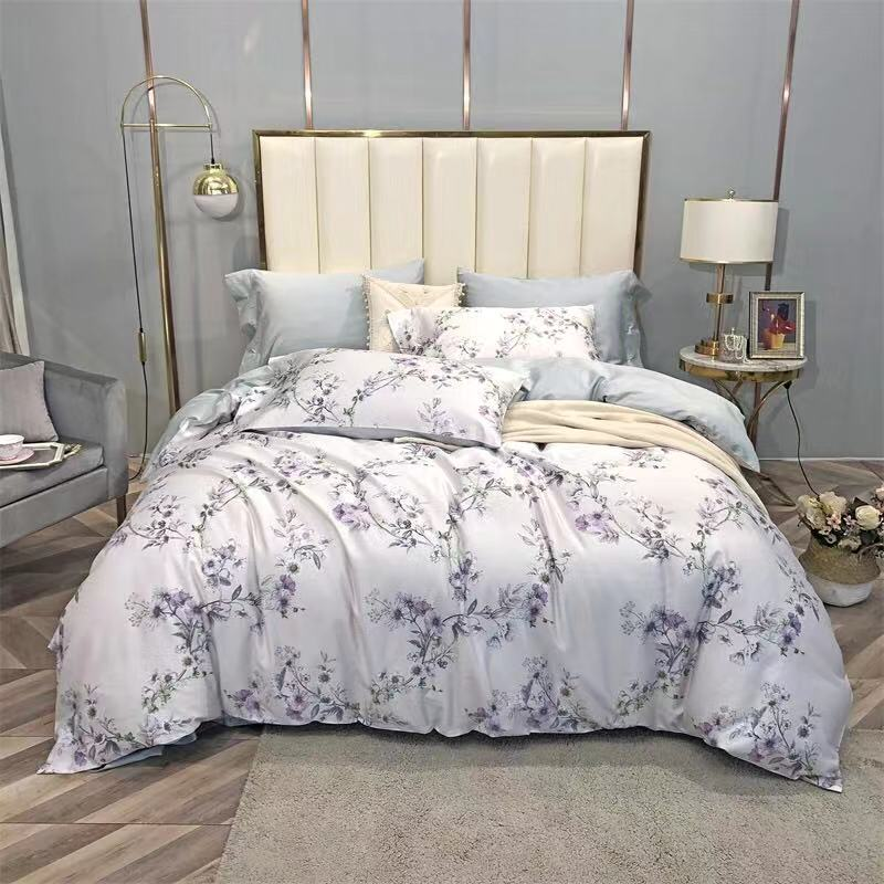 Chic Vintage Birds Floral Leaves Luxury Bedding Set Queen King Size 4Pcs Egyptian Cotton Soft Silky Duvet Cover Bed Sheet Set