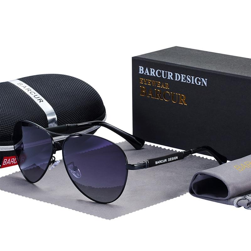 BARCUR Design Titanium Alloy Sunglasses Polarized Men's Sun Glasses Women Pilot Gradient Eyewear Mirror Shades Oculos De Sol 7