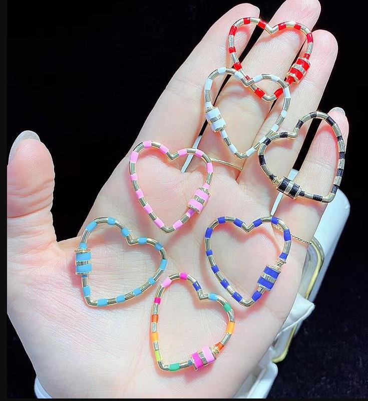 5 шт, Радужный цвет в форме сердца эмаль Винт Застежка модные ювелирные изделия застежка, аксессуары - Цвет: Mix color