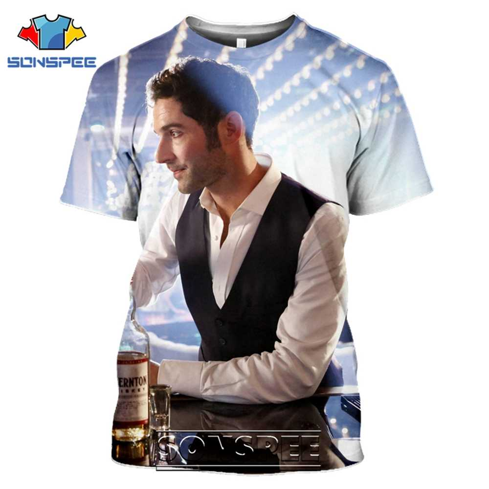 SONSPEE เสื้อยืด Lucifer Morningstar 3D พิมพ์ผู้ชายผู้หญิงแฟชั่น Hip Hop Streetwear DEVIL Tees เสื้อ