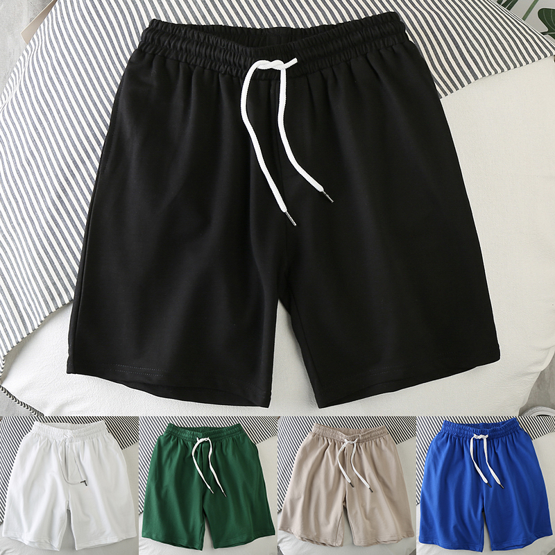 Hot Summer Cotton Men Shorts Fashion Solid Color Elastic Waist Sandy Beach Shorts Leisure Bodybuilding Workout Loose Shorts Mens