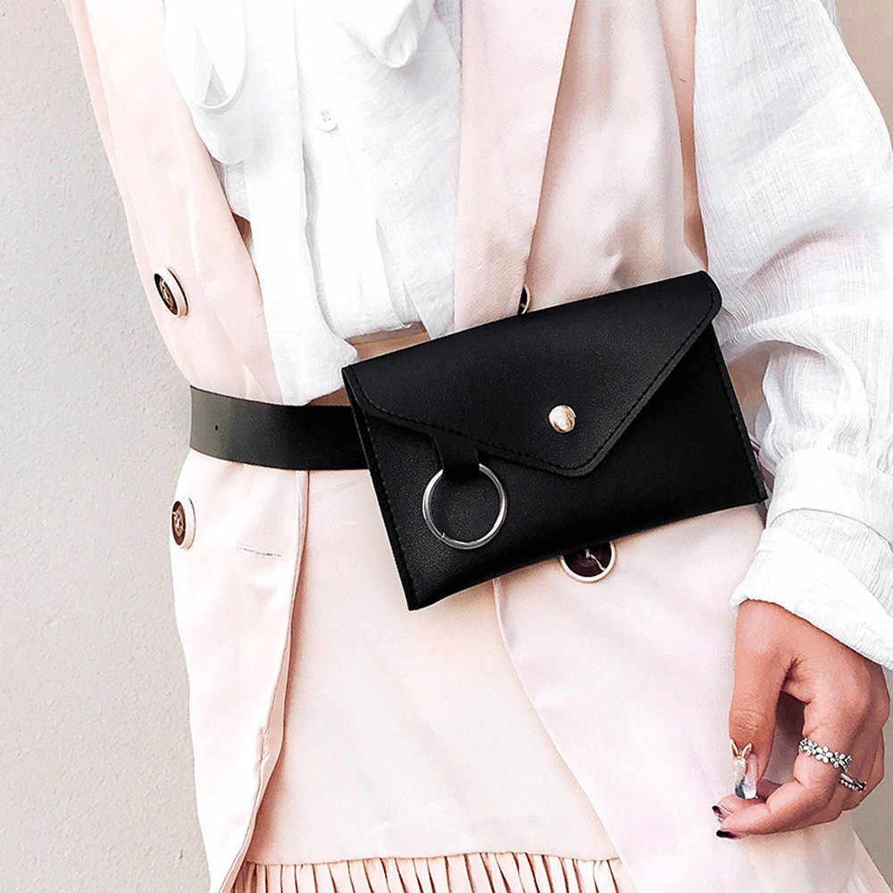 Vrouw Taille Tas Explosie Borst Zak Ring PU Leer Hasp Schouder Persoonlijkheid Banaan Pack Heuptas Fashion Casual Belt Bag # M