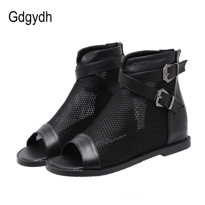 Gdgydh European Style Summer Shoes Women Height Increasing Black Mesh Breathable Ladies Boots For Summer Fashion Buckle Open Toe