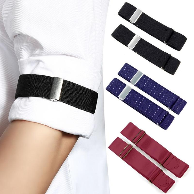 Men Women Non-slip Straps Sleeve Garters Holders Stripe Arm Bands Sleeve Shirt Elastic Garter Metal Bracelet Armband Accessories