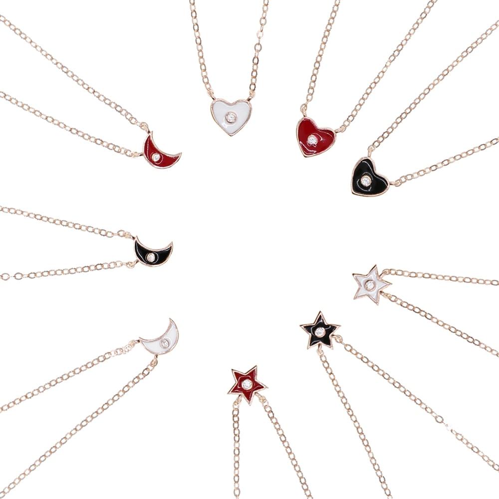 925 Sterling Silver Enamel Moon Star Love Heart Pendant Necklace Choker Jewelry Women Black Pink White Heart cz Charm Necklaces