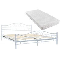 VidaXL Metal Bed With Mattress 180 X 200 Cm White Design Wavy White Colour Elegant Beds With Washable And Padded Cover