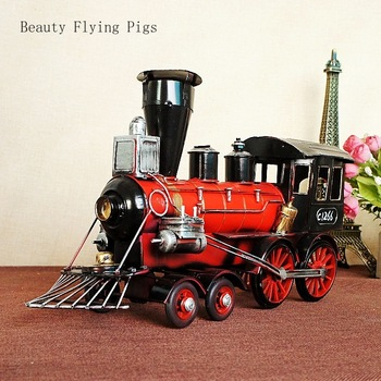 Direct sales new listing classic retro metal train bucket model metal souvenir hobby collection shooting prop home decoration