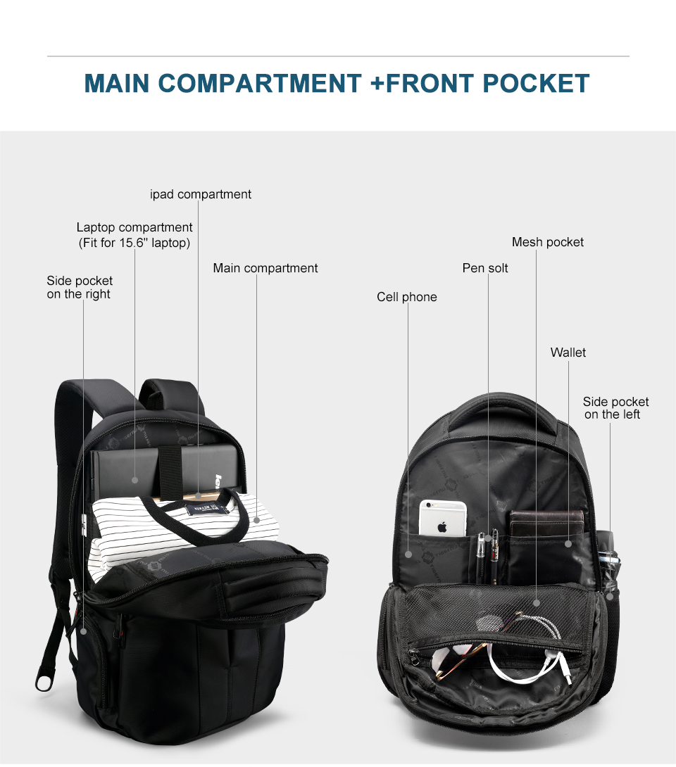 Waterproof 15.6inch Laptop Travel Backpack 17