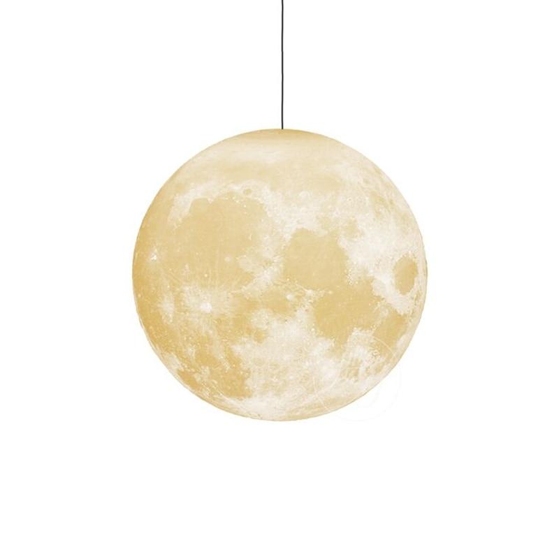 Moderna lámpara De luna con impresión en 3D luces colgantes PLA para habitación De niños lámpara colgante De dormitorio iluminación De sala De estar lámpara colgante luminaria - 6