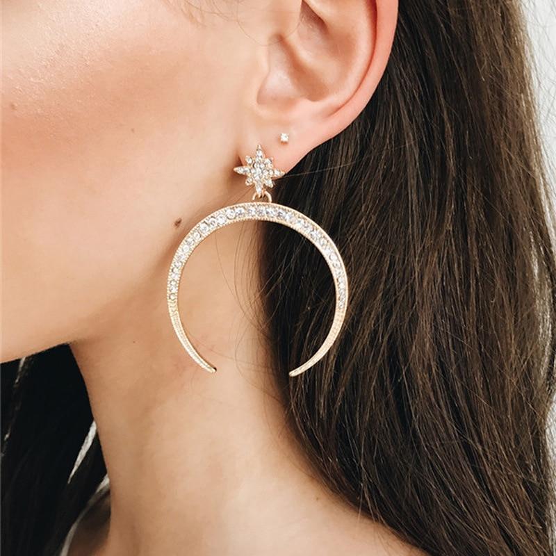 2019 latest design brand creative star big moon earrings.