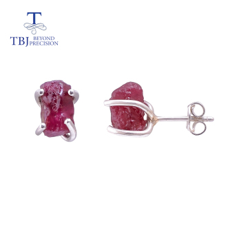 Handmade  Ruby rough earring,nautral aquamarine earring,natural rhodolite garnet earring 925 sterling silver  jewelry  tbj