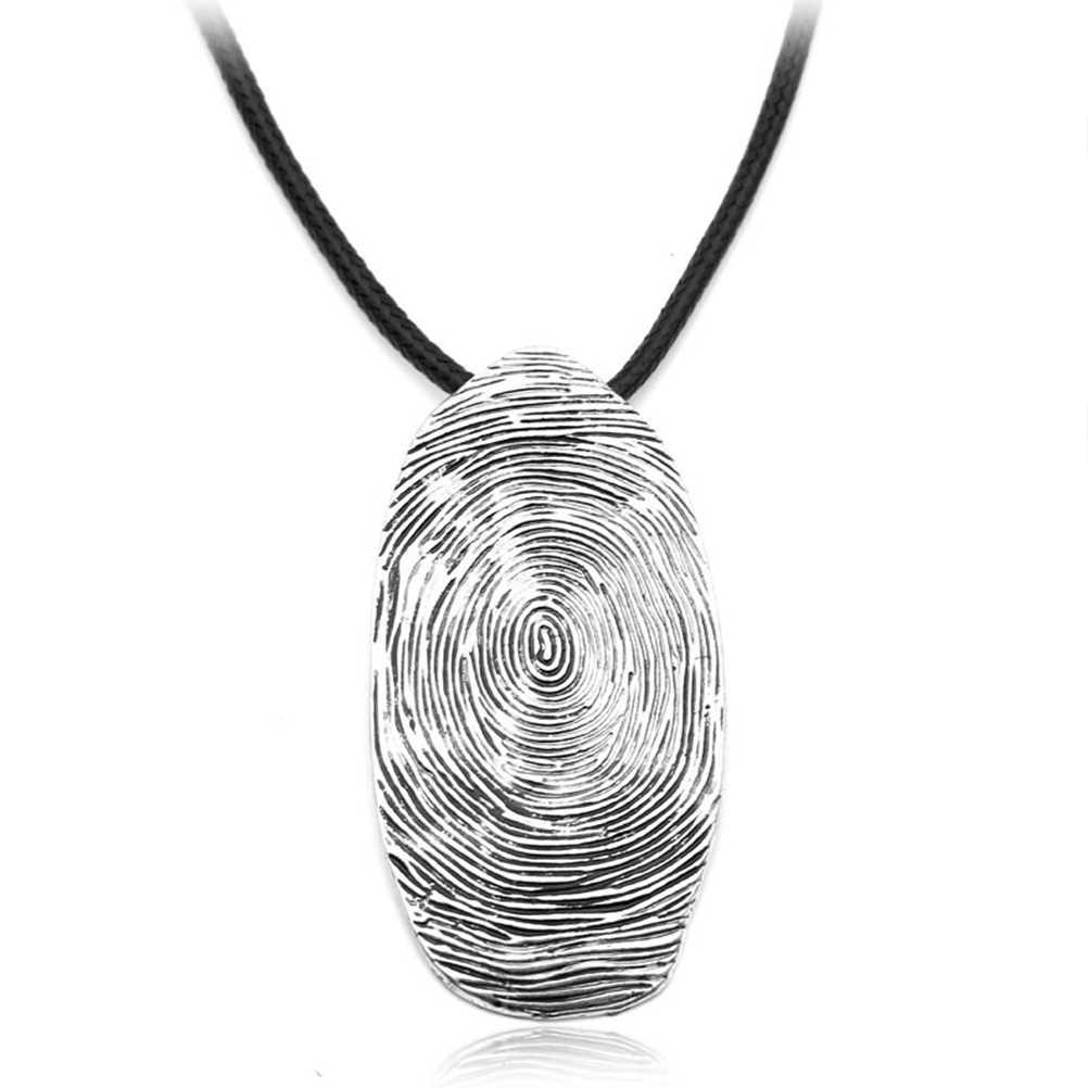 נירוסטה שרשרת טביעת אצבע אישיות רטרו שנתי של טבעת Valentine'S Gif תליון קסם לחברים אוהבי זוג
