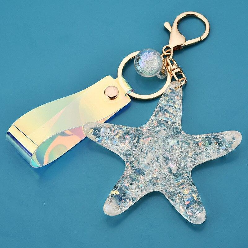 Sea World Simulation Starfish Pearl Keychain Jewelry Crystal KeyRing Pendant Purse Keychain Women Charm Gift  - buy with discount