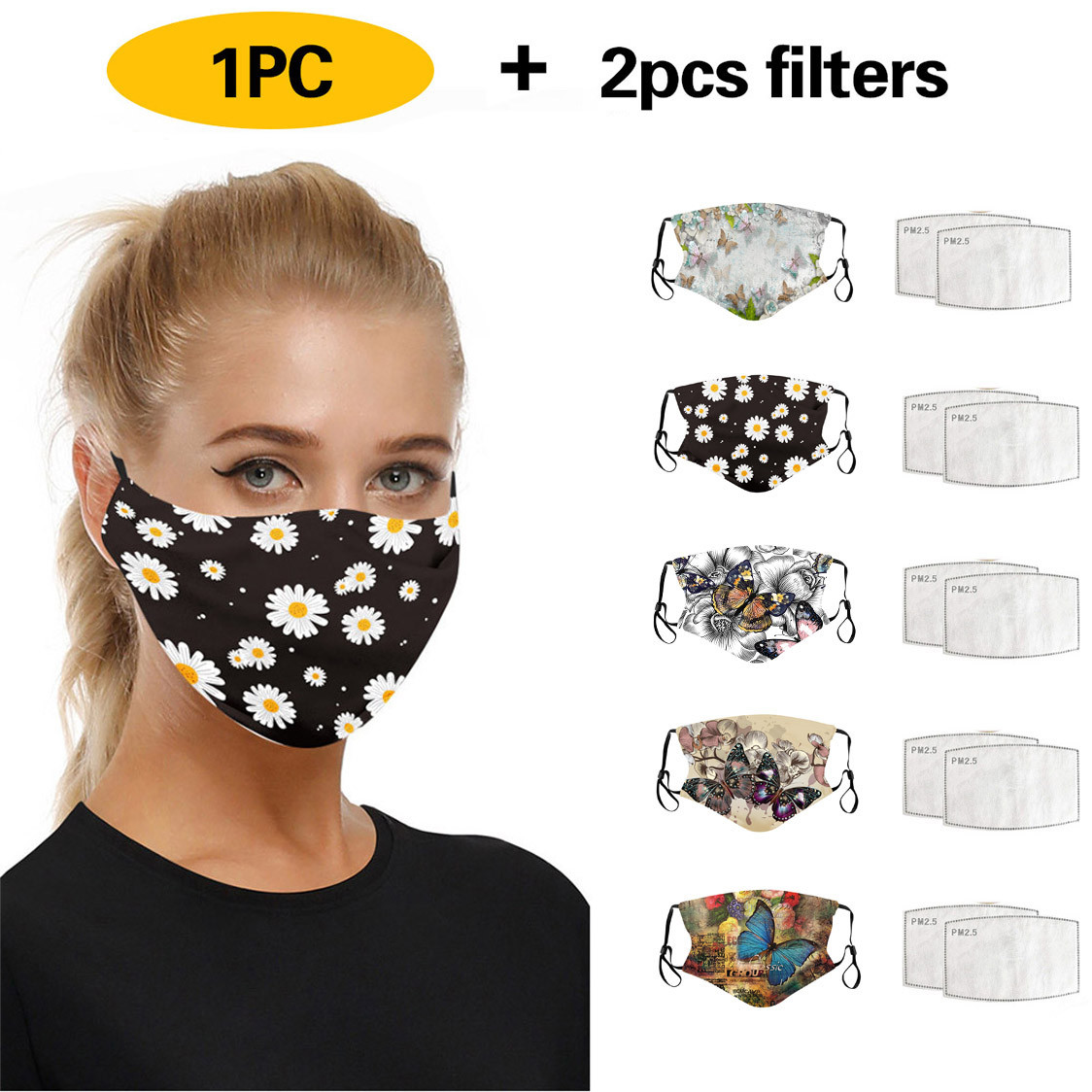 Funny Animal Printed Breathable Reusable Mask Filter PM2.5 Air Filtration Mask Protective Respirator Breathable Mascarillas