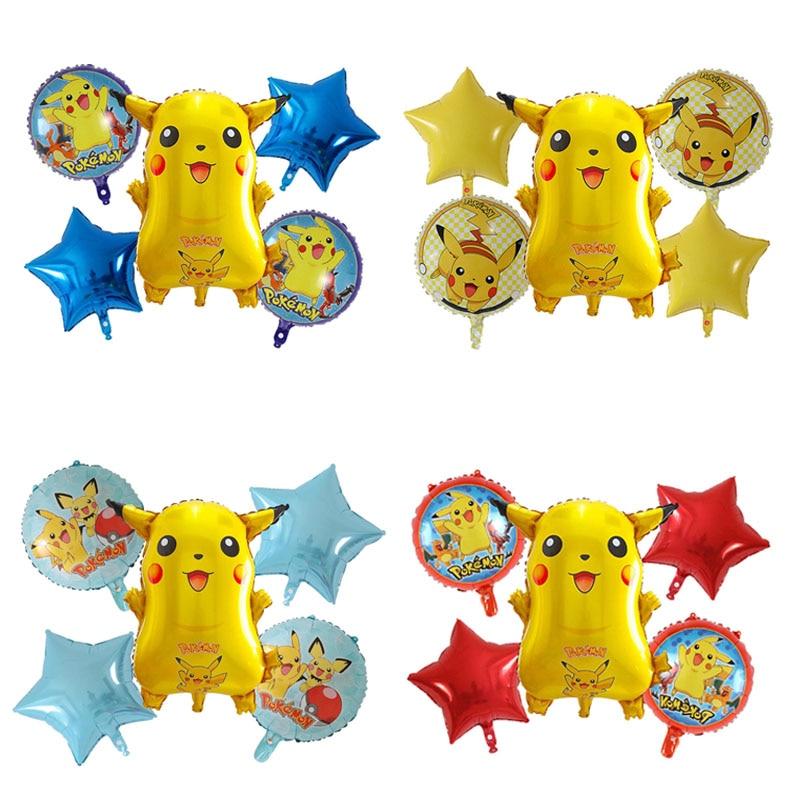 Пикачу на день рождения вечерние клипсы для воздушных шаров, с рисунком в виде покемона рисунок звезды круглые шары День защиты детей годов...