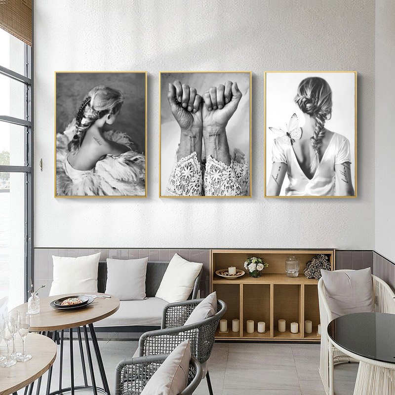 Nordic Black and White Poster Vintage Wall Prints Heaven Paintings Love Posters and Prints Wall Picture Dancer Room Canvas Decor(China)