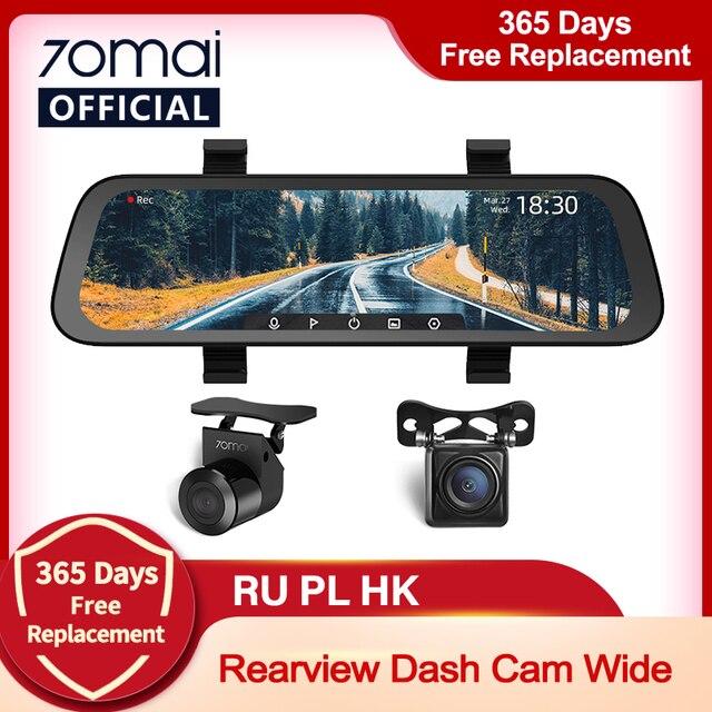 2020 New 9.35 Inch Full Screen 70mai Rearview Dash Cam Wide 1080P Auto Cam 130FOV 70mai Mirror Car Recorder Stream Media Car DVR